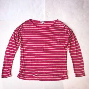 Old Navy women's medium pink tan striped shirt